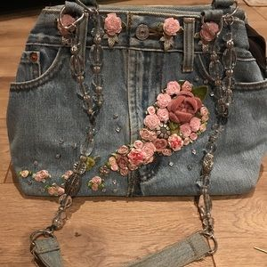 Denim purse with beaded strap